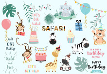 Collection Of Wild Animal Set With Giraffe,tiger,zebra,monkey