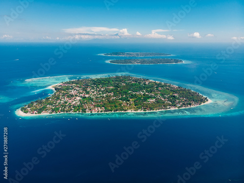 Fotografie, Obraz  Aerial view with Gili islands and ocean, drone shot.