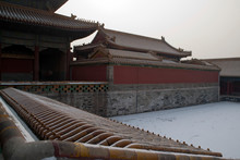 Beijing China, View Of Rooftops And Courtyard At The Forbidden City On A Smoggy Winter Day