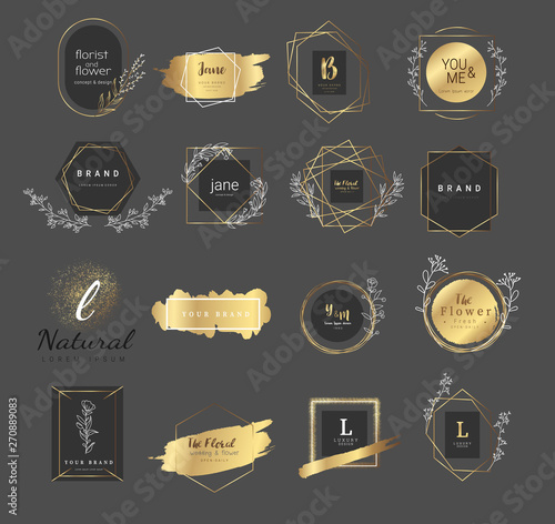 Fototapeta Premium floral logo templates for wedding,luxury  logo,banner,badge,printing,product,package.vector illustration obraz