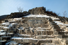 Huanghuacheng China,  Great Wall Of China Steps At Unrestored Section Of Wall In The Snow