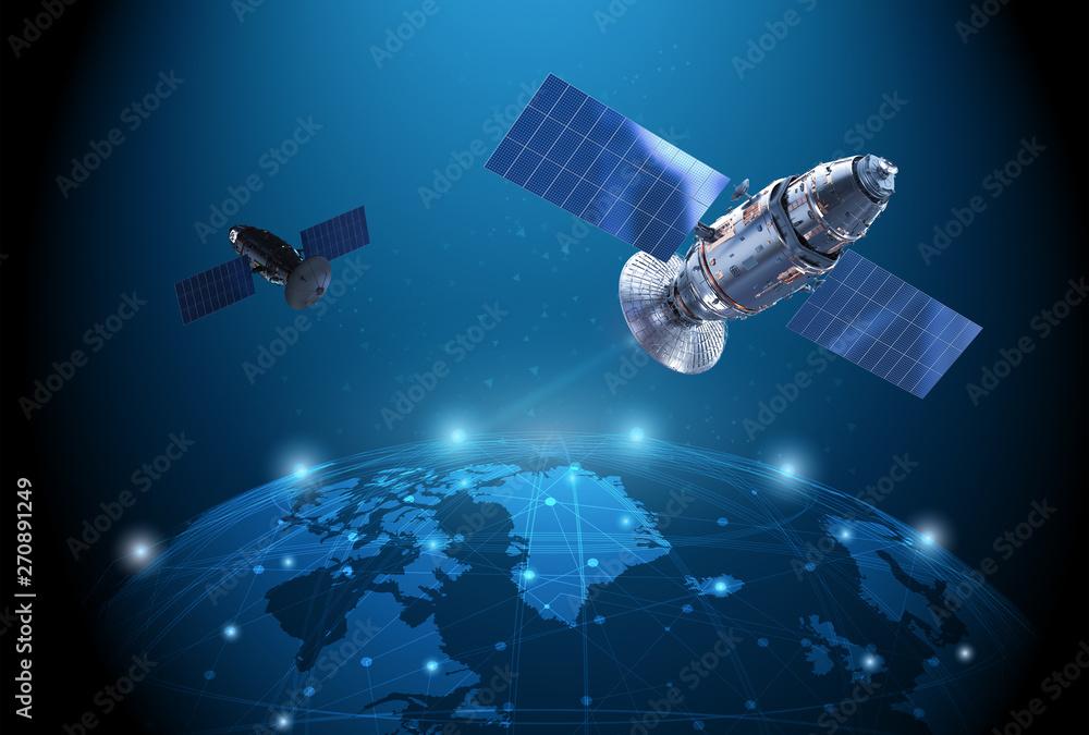 Fototapeta Satellite dish with antenna