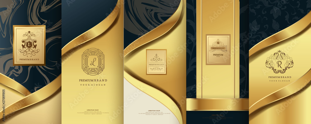 Collection of design elements,labels,icon,frames, for logo,packaging,design of luxury products.for perfume,soap,wine, lotion.Made with Isolated on marble background.vector illustration