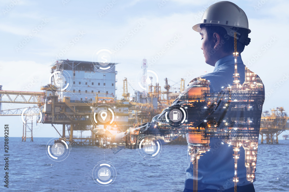 Fototapety, obrazy: Double exposure of Engineer with oil refinery industry plant background, industrial instruments in the factory and physical system icons concept, Industry 4.0 concept image