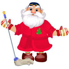 Santa Claus With A Mop To Wash...