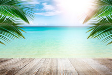 Tropical Beach With Palm Trees, Summer Vacation Background