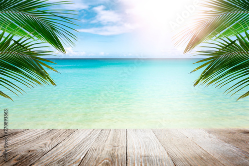 Garden Poster Light blue Tropical beach with palm trees