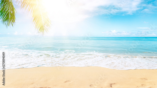 Spoed Fotobehang Strand Sunny tropical beach with palm trees