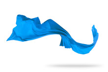 Flying Piece Of Coloured Cloth On White Background