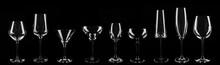 Set Of Different Empty Glasses On Black Background. Banner Design