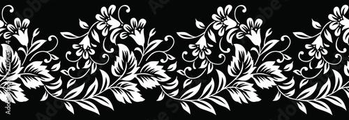 Photo  Seamless black and white flower border