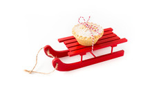 Red Wooden Sledge With Mince P...