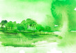Leinwanddruck Bild - Watercolor green wood. green silhouette, landscape, trees and bushes, on a hill, river, lake, reflected in water.  Watercolor splash of paint, beautiful illustration. Nature, tree, bush, silhouette