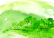 Leinwandbild Motiv Watercolor green wood. green silhouette, landscape, trees and bushes, on a hill, river, lake, reflected in water.  Watercolor splash of paint, beautiful illustration. Nature, tree, bush, silhouette