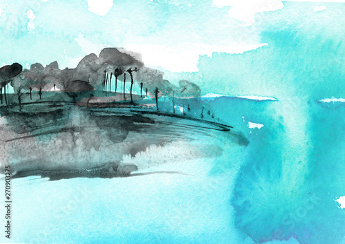 Poster Turquoise Watercolor blue wood. Blue, silhouette, landscape, trees and bushes, on a hill, river, lake, reflected in water. Snow, snowdrift, river, abstract splash of paint. Watercolor abstract blue spot