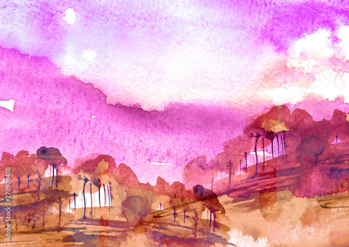 Printed kitchen splashbacks Purple Watercolor bush, a tree. pink, purple silhouette of trees against the background of sunset, sunrise.Watercolor landscape, forest.Suburban landscape at sunset. Bank of the river, reflected in the water
