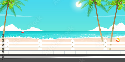 Photo Stands Turquoise happy summer trip,sea road vector.