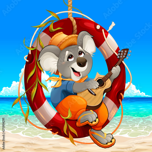 Koala is playing the guitar on the beach