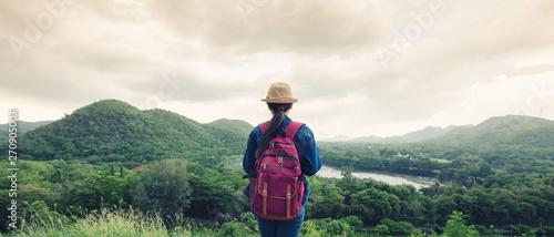Foto auf Gartenposter Khaki Happy young asian girl at Kang Kra Chan National Park Thailand