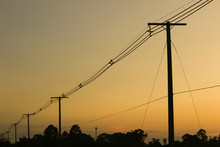 Electric Pole At Sunset