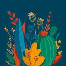 Beautiful Composition Of Plants, Leaves And Flowers, Cactus And Grass