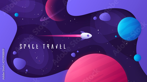 Fotografía  Vector illustration on the topic of outer space, interstellar travels, universe