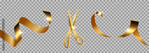 Stampa su Tela Golden scissors cut ribbon realistic illustration
