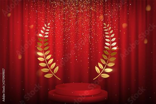 Red curtain, laurel twigs realistic illustration Wallpaper Mural