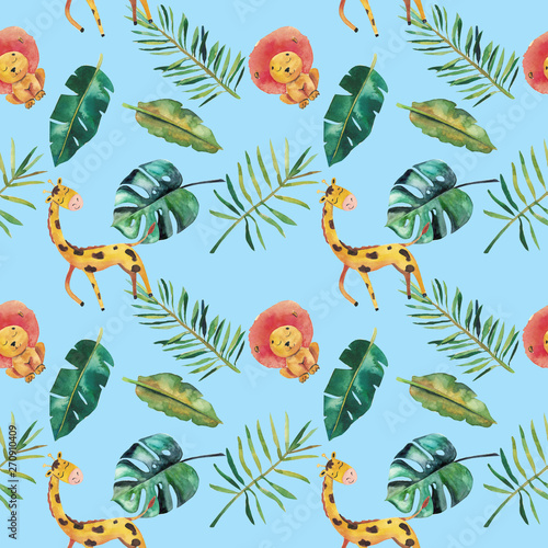 Fotobehang Papegaai Hand-drawn watercolor seamless pattern. Green tropical leaves and wild animals