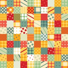 Colorful Patchwork Pattern. Seamless Design Of Bright Squares With Geometric Patterns.