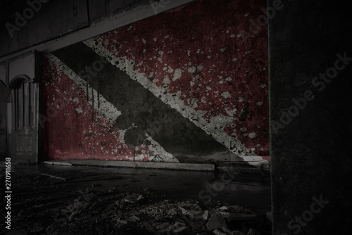 Photo sur Toile Amérique du Sud painted flag of trinidad and tobago on the dirty old wall in an abandoned ruined house.
