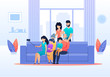 Family Selfie in Living Room at Home Flat Cartoon