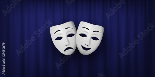 Cuadros en Lienzo Comedy and Tragedy theatrical mask isolated on a blue curtain background