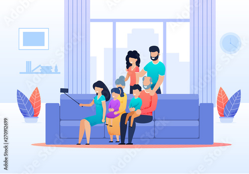 Fototapety, obrazy: Family Selfie in Living Room at Home Flat Cartoon