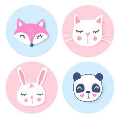 Vector set with cartoon animals - panda, penguin, cat, bear. Funny series animals. Adorable animals.