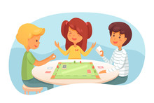 Children Playing Board Game Vector Illustration