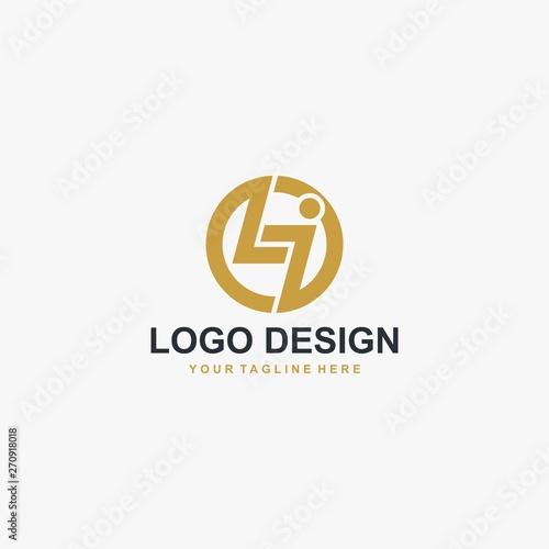 Letter LI logo design vector. Abstract font logo design. Wallpaper Mural