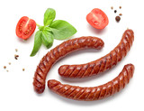 grilled sausages on white background - 270920433