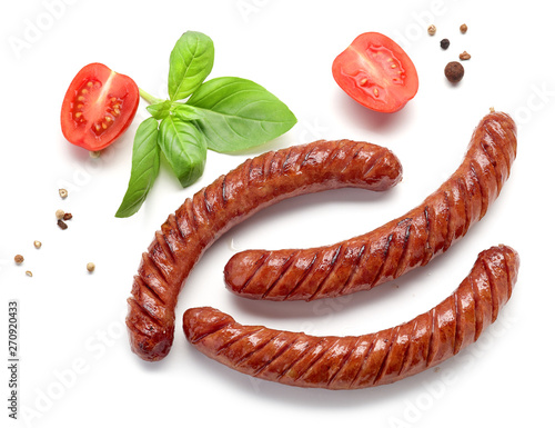 Obraz na płótnie grilled sausages on white background