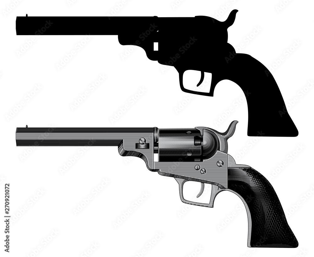 Fototapeta Gun revolver handgun six shooter pistol drawing in a vintage retro woodcut etched or engraved style