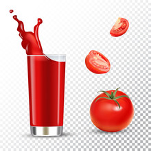 Vector Realistic Isolated Illustration Of Tomato Juice In Glass And Tomato Fruits. Ad Poster With 3d Effect Of Fresh Beverage With Splash. Healthy Organic Tomatoes And Juice On Transparent Background.