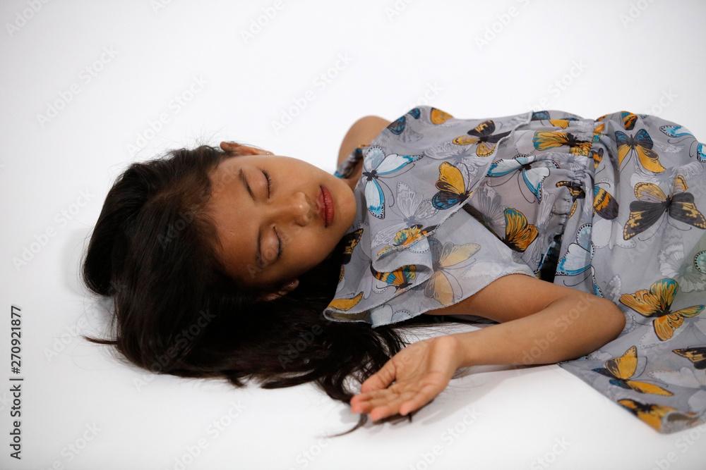 Fototapety, obrazy: Pretty asian girl in gray blue butterflies dress sleeps