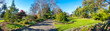 Beautiful panorama view of environment in Footscray Park with footpath, garden and different kinds of plants. Melbourne, VIC Australia.