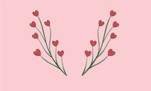 Vector Flower Heart Card On White Background. Love, Valentine's Day, Spring, Wedding, Tulips