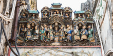 """Composition Of Figurines Showing A Crowded City Scene On The Roof Of Thien Hau Temple (erected In C.1760), One Of The Top Tourist Attractions Of Cho Lon (""""Chinatown""""), Ho Chi Minh City, Vietnam."""