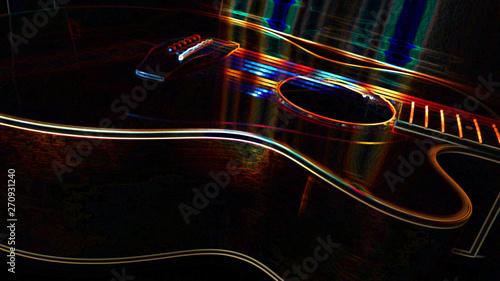 abstract neon guitar