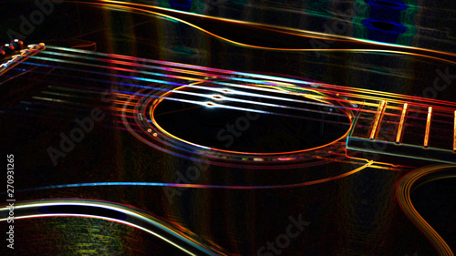abstract neon acoustic  guitar #270931265