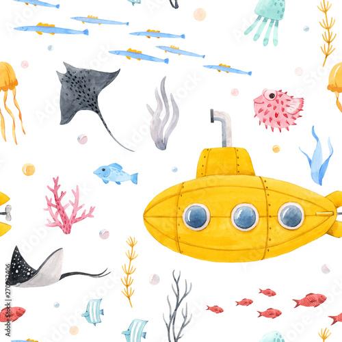 akwarela-podwodny-okret-podwodny