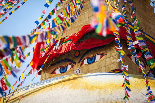 Fotografie, Obraz Buddha's eyes depicted on a stupa Boudnath