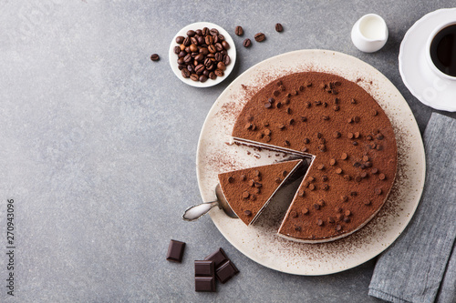 Photographie Tiramisu cake with chocolate decotaion on a plate